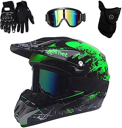 Motocross Helm/Grün Motorradhelm/Crosshelm für Mountainbike ATV BMX Offroad/Adult Motorrad Sports Damen Männer Enduro Helm/Fullface Helm mit Handschuhe Schutzbrille Schutzmaske (XL(58-59 cm))