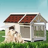 DHYBDZ Casa para Mascotas de Madera Extra Grande con Jaula, casa para Perros elevada con terraza Porche, Refugio Elevado para Mascotas al Aire Libre Estilo cabaña de Madera