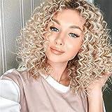 Yooyg Peluca rubia rizada corta, pelucas sintéticas resistentes al calor,Peluca frontal de encaje Cosplay peluca para mujeres