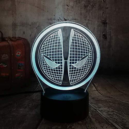 Superheld Schwert Maske Assassine USB/Button ren 3D LED Nachtlicht USB Tischlampe Kinder Geburtstagsgeschenk Nachtzimmer Raumdekoration