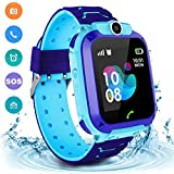 Kids Waterproof Smart Watch Phone, LBS/GPS Tracker Touchscreen Smartwatch Games SOS Alarm Clock Camera Smart Watch Christmas Birthday Gifts for 3-12 Boy Girls (Blue)