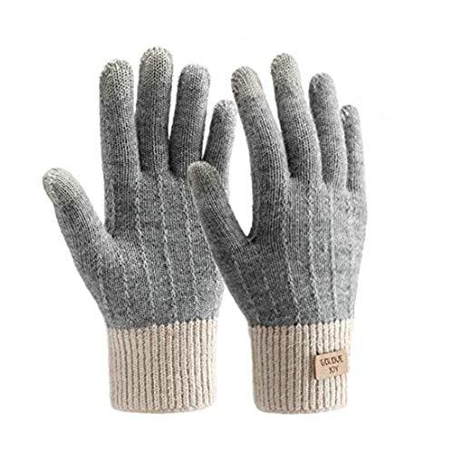 Fascigirl Handschuhe Damen Winterhandschuhe Touchscreen Handschuhe Fingerhandschuhe Sport Warme Windstopper Handschuhe Strick Thinsulate Handschuhe für Skifahren Radfahren Arbeiten und SMS (grau)