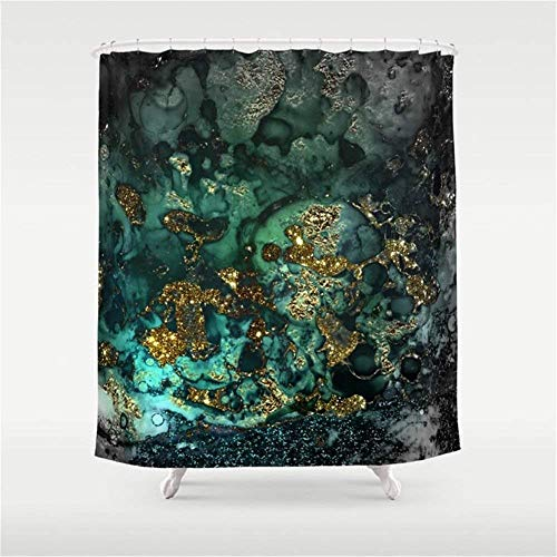 NJIASGFUI Gold Indigo Malachite Marmor-Duschvorhang, 152,4 x 182,9 cm