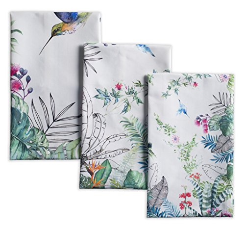Maison d' Hermine Tropiques 100% Cotton Set of 3 Kitchen Towels Soft Absorbent (20 Inch by 27.5 Inch)