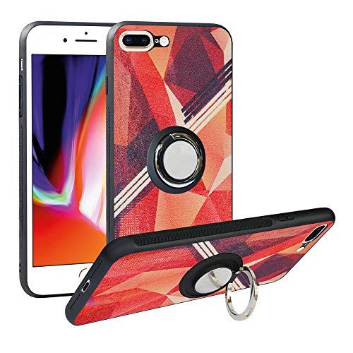 Funda para iPhone 8 Plus, Fashion Design [Antigolpes] con 360 Anillo iman Soporte, Resistente a los arañazos TPU Funda Protectora Case Cover para Apple iPhone 7 Plus,Rose Red