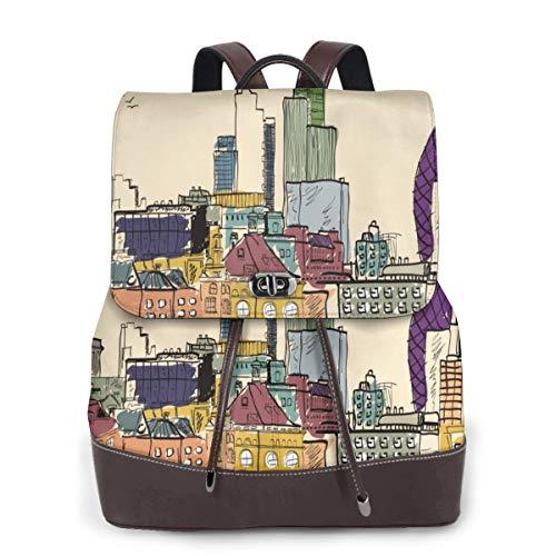 Damen Rucksack, Bambus, echtes Leder, Reisen, Schule, Mini-Schultertasche, Blau - Area Teppich London City Skyline - Größe: Einheitsgröße