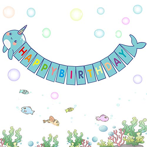 Happy Storm Narwhal Banner Narwhal Party Supplies Favors for Kids Narwhal Unicorn of the Sea Birthday Party Decor DIY Under the Sea Baby Shower Banner Decorations