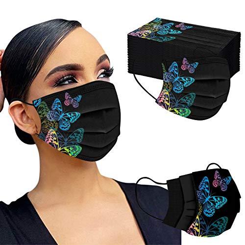 SOMESUN 50 Stück Einweg Mundschutz,3 lagig Mund-Nasen-Schutz, Schmetterlingsdruck Multifunktionstuch Bandana Staubdicht Atmungsaktiv Mund-Nasen Bedeckung Halstuch Schals für Erwachsene