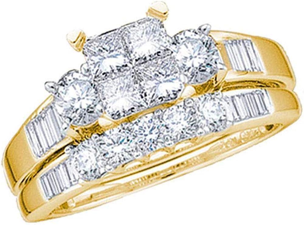 14kt Yellow Gold Princess Diamond Bridal Wedding Ring Band Set 7/8 Cttw