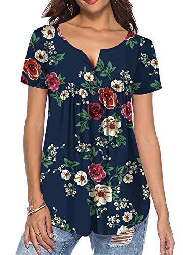 Cyiozlir Damen T Shirt Sommer Tunika Blumen Rundhals Kurzarm Lose Tops mit Knopfleiste Plissiert Bluse Casual Oberteil (Navy blau,Small,Large