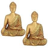 FEIGER Cikonielf 2 unids/Set Estatua de Buda Resina sintética China meditación sentada estatuilla Adorno decoración del hogar Oro