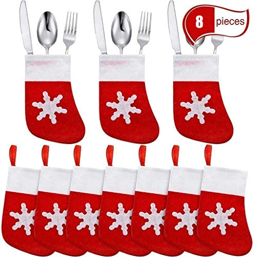8PCS 2020 Personalized Christmas Stockings Tableware Bag & Christmas Decor Bag Hanging Ornament Fireplace Xmas Tree Holiday Party Decoration for Family Holiday Season