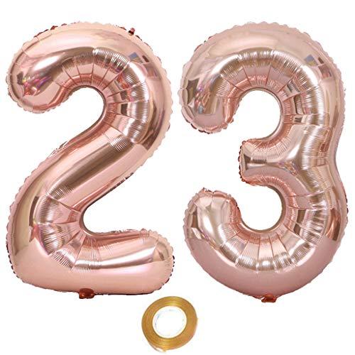 Palloncino Foil Trentesimo Compleanno, Numero 23 Oro Rosa Numero 23 Palloncini Palloncino Foil Gigante Grande da 32 Pollici Elio per Festa di Compleanno, Matrimonio, Anniversario o Regalo di Laurea