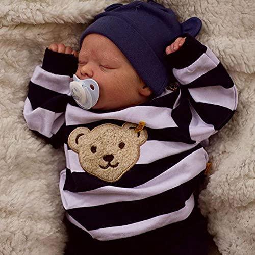 chisatowww Reborn Babypuppe, die wie echtes Silikagel aussieht, weiche Simulation, Baby 12/18 Zoll, schlafende Jungenpuppe, Puppenensemble
