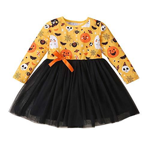 Emersom Baby Mädchen Halloween-Outfit Kürbis Totenkopf Muster Lange Ärmel Knielang Tüll Lagenkleid Sommer Herbst Party Rock Gr. 80 cm, gelb