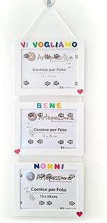 3 Cornici per Foto in Legno 13x18cm con la Scritta Personalizzata. Bianca. Ideale per Regalo e Ricordo.