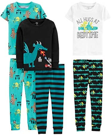 Simple Joys by Carter s Boys Little Kid 6 Piece Snug Fit Cotton Pajama Set Dragons Igauana 7 product image