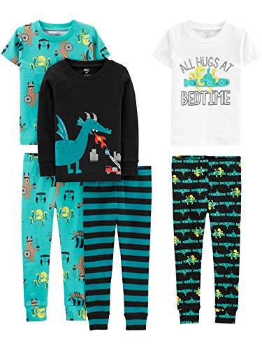Simple Joys by Carter's Boys' Toddler 6-Piece Snug Fit Cotton Pajama Set, Dragons/Igauana, 2T