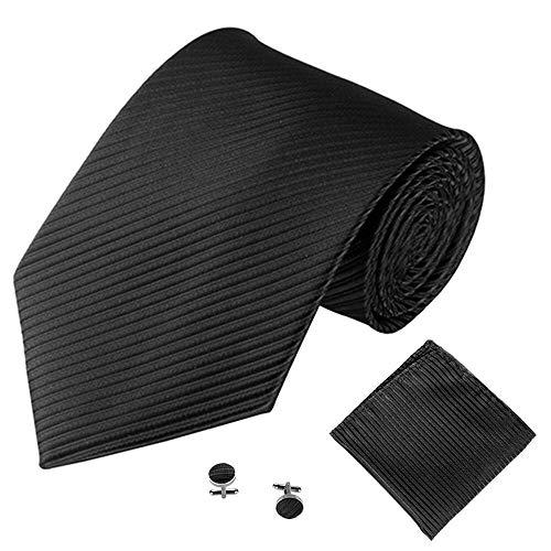 YTGUEVKDH Fashion New Classic Striped Tie Men's Business Tie Pocket Square Towel Handkerchief Cufflinks Set (Color : A)