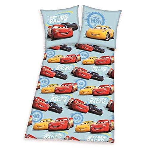 Herding DISNEY CARS 3 Set di Biancheria da Letto Reversibile, Copripiumino 135 x 200 cm, Federa 80 x 80 cm, Flanella/Beaver