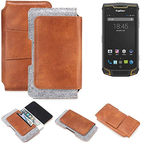 K-S-Trade® Schutz Hülle Für Ruggear RG740 Gürteltasche Gürtel Tasche Schutzhülle Handy Smartphone Tasche Handyhülle PU + Filz, Braun (1x)