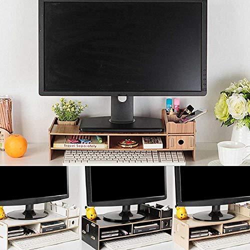 XTR Schreibtisch Monitorständer Multifunktions-Computerbildschirm Riser Holz Regal Sockel Starker Schoßständer Schreibtischhalter für Notebook-TV, Kirschholz