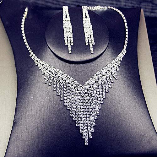 XKMY Joyería para mujer con diamantes de imitación geométricos, pendientes para mujeres, conjuntos de joyas de borla larga, regalos para banquetes (color metálico: TL06)