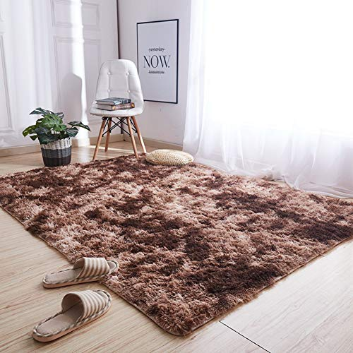 Lyfreen Soft Fluffy Indoor Area Rug Gradient Color Rectangle Shaggy Area Rugs Fluffy Modern Kids Carpet for Living Room Bedroom Sofa Bedside Decor 4.26' x 6.23' Coffee