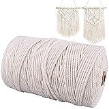 Gudotra 3mm x 200M Cuerda de Algodón Macrame Macrame Cuerda para Tejer Decoración Decoración Interior Envolver...