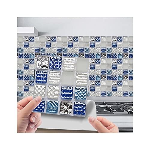 ZXF Pegatinas de baldosas, 10 unid 3D Pegatinas de azulejo de Cristal 3D DIY Etiquetas engomadas Autoadhesivas a Prueba de Agua Decoración del hogar Decoración de la Cocina Sala de Estar Aseo