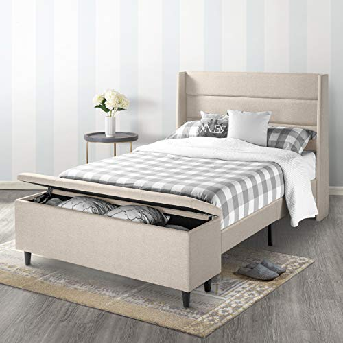 Mellow Platform Bedswith Headboard andBedside Storage-Ottoman Beige, Full