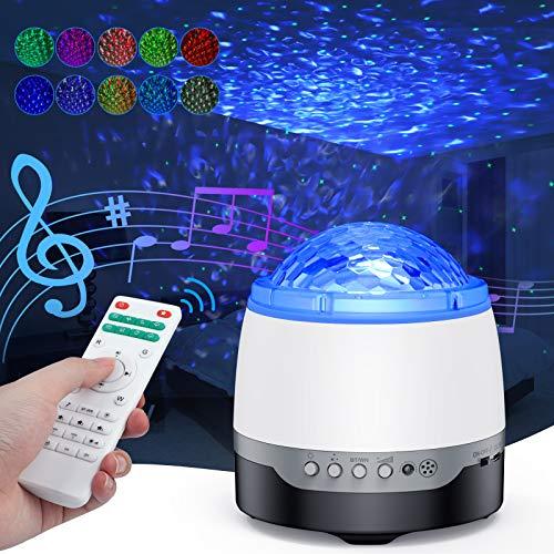 LED Sternenlicht Projektor, Bellababy Sternenhimmel Projektor,Ocean Wave Projektionslampe mit Bluetooth Lautsprecher, Sternenprojektor Nachtlicht, Sprachsteuerung, Fernbedienung,Projekorlampe