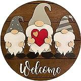 Deezon Cartel de Bienvenida de Gnomo de Corazón, Usado para Cerchas de Madera para Puerta de Entrada, Decoración de Porche, Colgante Colgante Enano