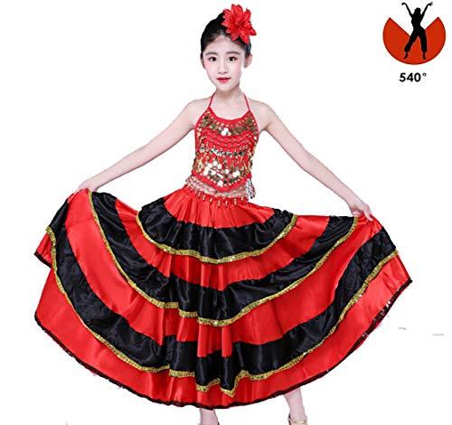Rood Zwart Satijn Effen Spaans Flamenco Rok Lace Up Vrouwelijke Dans Kostuums 360-720 Graden Meisjes Ballroom Dochter Jurk