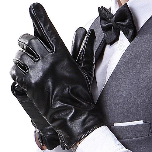 FLY HAWK  warm gefütterte Handschuhe aus Echtem Leder Herren Lederhandschuhe für Touch Screen geeignet, XL = 9,4 inches- Mittelfinger = 3,54 inches, Schwarz-a
