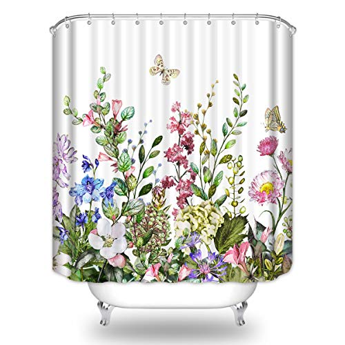 BIYSUC Floral Shower Curtain Flower Green Leaves Butterfly Spring Colorful Plant Natural Scenery Waterproof Polyester Fabric Bathroom Décor 72x72 inchs with 12pcs Plastic Hooks