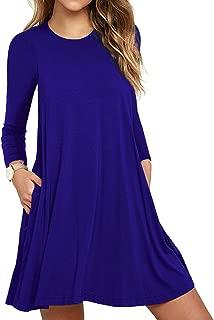 WEACZZY Women's Long Sleeve Pocket Casual Loose T-Shirt Dress