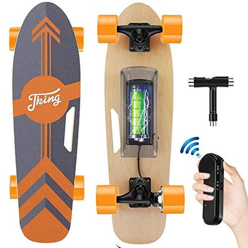 Tooluck Electric Skateboard mit drahtloser Fernbedienung, 20 km/h Höchstgeschwindigkeit, 350 W Motor, 8 Meilen Reichweite, 7 Schichten Ahorn, 3-Gang-Modi für Erwachsene Teenager und Kinder (Orange)