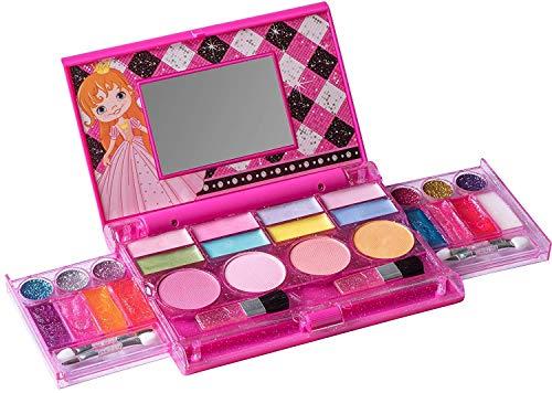 Playkidz PK3045 MakeUp Chest Prinzessinnen-Schminktruhe, die All-in-One Deluxe-Kosmetik für Mädchen und echte Make-up-Palette mit Spiegel (waschbar) Meine Erste Prinzessin, Multi Color