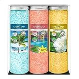 Nortembio Sales de Epsom Pack 3 x 430 g. Fragancias de Jazmín, Canela y Coco. Hidratadas con Vitamina C y E. Sales de Baño, Aromaterapia, Terapias de Flotación. E-Book Incluido.