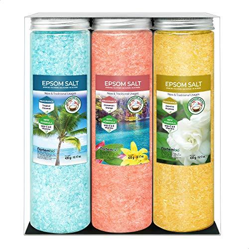 Nortembio Epsom Salz Set 3 x 430 g. Jasmin, Zimt und Kokosnussaroma. Hydratisiert mit Vitamin C und E. Badesalz, Aromatherapie, Floatingtherapie. E-Book Inklusiv.