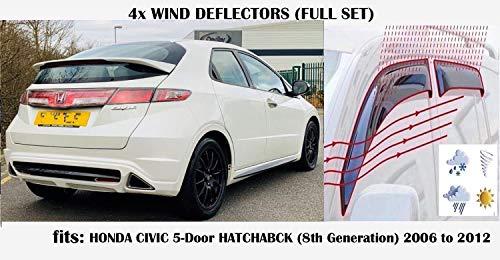 4er-Set Windabweiser zum Aufkleben, kompatibel mit Honda Civic 5-Türer Schrägheck 8th Generation 2005 2006 2007 2008 2009 2010 2011 Acrylglas Seitenblenden Fensterabweiser