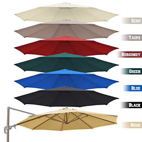 BenefitUSA Replacement Canopy Top Cover for 11.5' Rome Cantilever Patio Umbrella Outdoor Sunshade (Red)