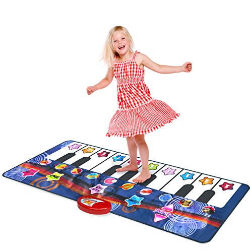 Kidzlane Durable Piano Dance Mat   Giant Floor Piano Mat for Kids and Toddlers   Step on Piano Keyboard   Electronic Music Gift Toy for Girls and Boys