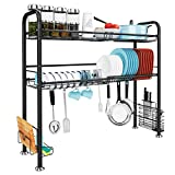 Over The Sink Dish Drying Rack, JZBRAIN 2-Tier Large Dish Rack Stainless Steel with Utensil Holder Hooks (Black)