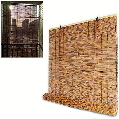 Fudeer Cane Jalousien Senkrecht-Markise, kein Bohren erforderlich, leichte und einfache Installation, Rollo, Bambus Schatten, Anpassbare,W60xH140cm