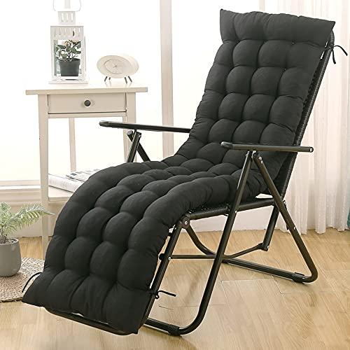 Cuscino per sedia a sdraio con schienale alto, per sedia a dondolo, da giardino, da cortile, chaise longue per viaggi, vacanze, giardino, interno ed esterno, nero