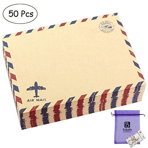 Bolbove Briefumschläge, Vintage-Stil, Kraftpapier, 50 Stück braun