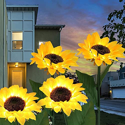 YLSZHY Paquete de 2 luces solares para jardín, impermeables, funciona con energía solar, luces LED de girasol, luces decorativas para patio, césped, patio, patio, camino, decoración
