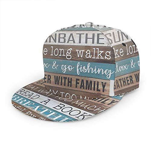 Gorra de béisbol plana con regla 3D del lago sobre letreros de madera, visera plana, ajustable, para papá, sombrero de camionero para hombres y mujeres, color negro
